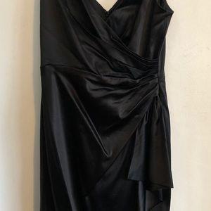 WHBM black sleeveless gathered dress size 6
